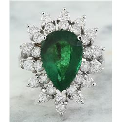 5.20 CTW Emerald 18K White Gold Diamond Ring