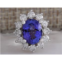 2.45 CTW Natural Blue Tanzanite And Diamond Ring 18K Solid White Gold
