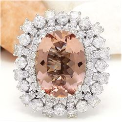 13.35 CTW Natural Morganite 18K Solid White Gold Diamond Ring