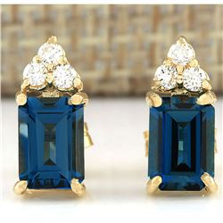 2.15 CTW Natural Topaz And Diamond Earrings 18K Solid Yellow Gold