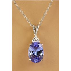 3.20 CTW Tanzanite 18K White Gold Diamond Necklace