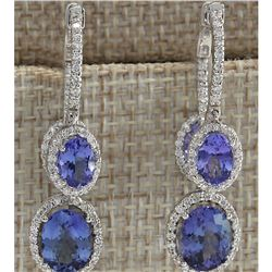 7.78 CTW Natural Tanzanite And Diamond Earrings 18K Solid White Gold