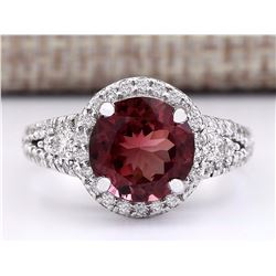3.60 CTW Natural Burgundy Tourmaline And Diamond Ring 14k White Gold