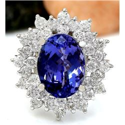 7.47 CTW Natural Tanzanite 18K Solid White Gold Diamond Ring