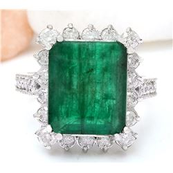 9.55 CTW Natural Emerald 18K Solid White Gold Diamond Ring