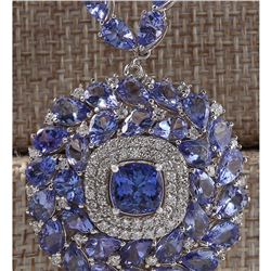 63.10 CTW Natural Tanzanite And Diamond Necklace In 18K White Gold