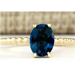 1.39 CTW Natural London Blue Topaz Ring In 18K Yellow Gold