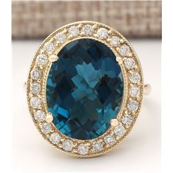 11.76 CTW Natural Topaz And Diamond Ring In 18K Yellow Gold