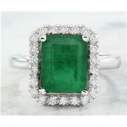 3.55 CTW Emerald 14K White Gold Diamond Ring