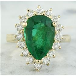 4.55 CTW Emerald 18K Yellow Gold Diamond Ring