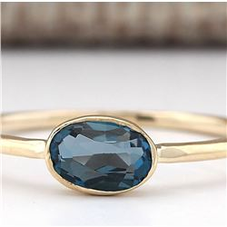 0.60 CTW Natural London Blue Topaz Ring In 18K Yellow Gold