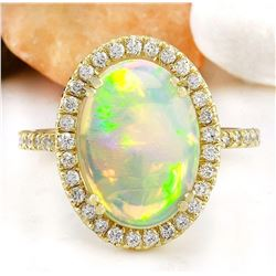 3.60 CTW Natural Opal 18K Solid Yellow Gold Diamond Ring