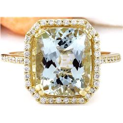 3.55 CTW Natural Aquamarine 14K Solid Yellow Gold Diamond Ring