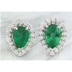 1.40 CTW Emerald 18K White Gold Diamond Earrings