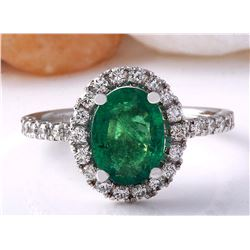 2.63 CTW Natural Emerald 18K Solid White Gold Diamond Ring