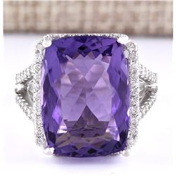 11.80 CTW Natural Amethyst And Diamond Ring In 18K White Gold