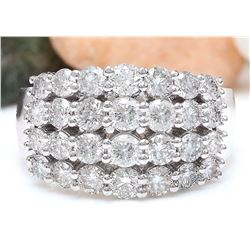 2.63 CTW Natural Diamond 18K Solid White Gold Ring