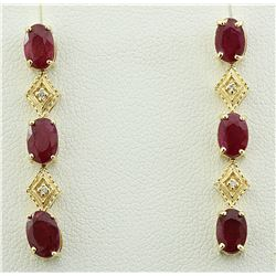 2.65 CTW Ruby 14K Yellow Gold Diamond Earrings