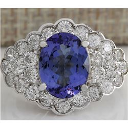 5.12 CTW Natural Blue Tanzanite And Diamond Ring In 18K White Gold