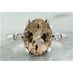 3.41 CTW Morganite 18K White Gold Diamond Ring