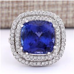 14.55 CTW Natural Blue Tanzanite And Diamond Ring 18K Solid White Gold