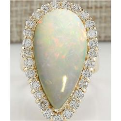 9.39 CTW Natural Opal And Diamond Ring 14K Solid Yellow Gold