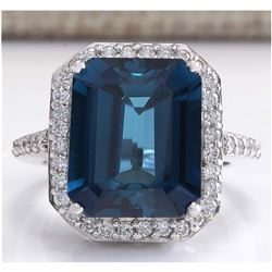 10.73CTW Natural London Blue Topaz And Diamond Ring In 18K White Gold