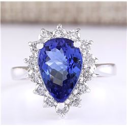 4.07 CTW Natural Blue Tanzanite And Diamond Ring 18K Solid White Gold