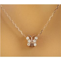 0.20 CTW Diamond 18K Rose Gold Necklace