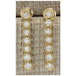 1.26 CTW Natural Diamond Earrings 14K Solid Yellow Gold