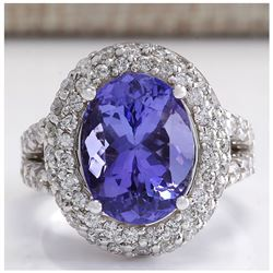 9.85 CTW Natural Blue Tanzanite And Diamond Ring 18K Solid White Gold