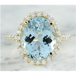 7.07 CTW Aquamarine 18K Yellow God Diamond Ring