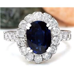 3.35 CTW Natural Sapphire 18K Solid White Gold Diamond Ring