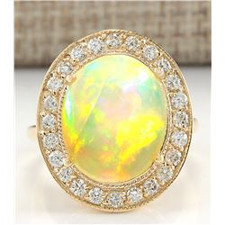 7.21 CTW Natural Opal And Diamond Ring In 14K Solid Yellow Gold