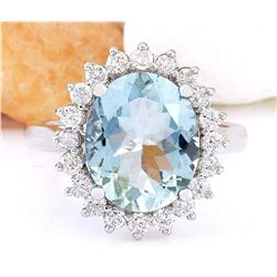 4.31 CTW Natural Aquamarine 18K Solid White Gold Diamond Ring