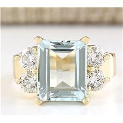 5.74 CTW Natural Blue Aquamarine And Diamond Ring In 18K Yellow Gold