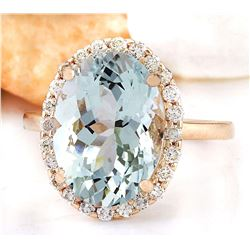 6.45 CTW Natural Aquamarine 18K Solid Rose Gold Diamond Ring