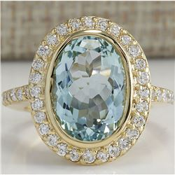 6.35 CTW Natural Aquamarine And Diamond Ring In 14K Solid Yellow Gold