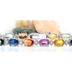 17.43 CTW Natural Sapphire 14K Solid White Gold Diamond Bracelet