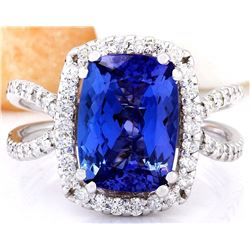 4.88 CTW Natural Tanzanite 18K Solid White Gold Diamond Ring