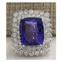 12.40 CTW Natural Blue Tanzanite And Diamond Ring 18K Solid White Gold