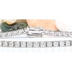5.00 CTW Natural Diamond 18K Solid White Gold Bracelet