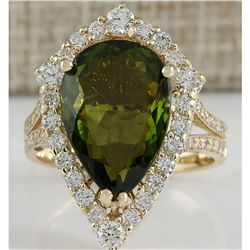 7.48 CTW Natural Green Tourmaline And Diamond Ring In 18K Yellow Gold