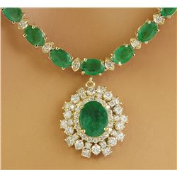 30.90 CTW Emerald 18K Yellow Gold Diamond Necklace
