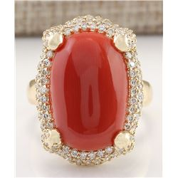 12.69 CTW Natural Coral And Diamond Ring In 18K Yellow Gold