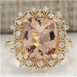 5.09 CTW Natural Morganite And Diamond Ring 14K Solid Yellow Gold