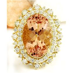 12.40 CTW Natural Morganite 18K Solid Yellow Gold Diamond Ring
