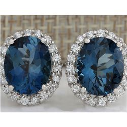8.55CTW Natural Topaz And Diamond Earrings 18K Solid White Gold