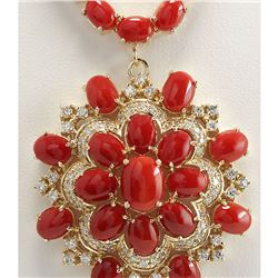 67.80 CTW Natural Red Coral And Diamond Necklace In 14K Yellow Gold