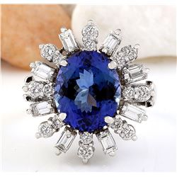 8.95 CTW Natural Tanzanite 18K Solid White Gold Diamond Ring